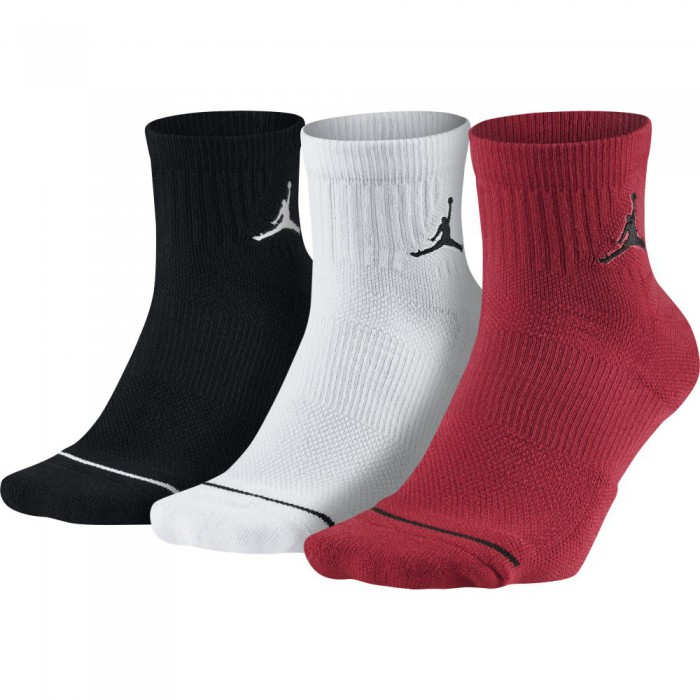 Chaussettes Unisex Jordan Jumpman High-intensity Quarter Sock (3 Pair) black/white/gym red
